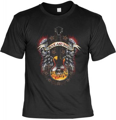Rock and roll guitar mit der Artikel-Nr.: HK_Mot_01_15892-P16<b>Biker - Motiv T-Shirt</b><br><br><br><b><u>Angaben zum Produkt vom Hersteller:</u><br><br><b><i>Das Material ist 100% Baumwolle</b><b>Die Tshirts haben ein Schulter zu Schulter Nackenband für