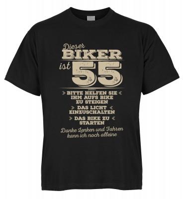 Dieser Biker ist 55 Bitte helfen Sie ihm aufs Bike zu steigen Das Licht einzuschalten T-Shirt Bio-Ba