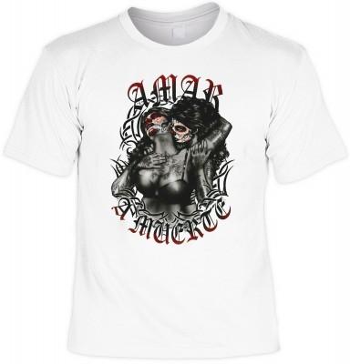 Amar a muerte mit der Artikel-Nr.: HK_Mot_02_15735-P15<b>Biker - Motiv T-Shirt</b><br><br><br><b><u>Angaben zum Produkt vom Hersteller:</u><br><br><b><i>Das Material ist 100% Baumwolle</b><b>Die Tshirts haben ein Schulter zu Schulter Nackenband für besser