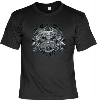 Top Qualität! HK_USA_01_13603-P13 mit dem Motiv: <br><b>Motorradfahrer T-Shirt Freedom of the Road Fb schwarz auch in 3xL 4xL 5xL</b>,fällt sofort ins Auge und sorgt für einen gelungenen Auftritt.<br><br>T-shirt namenhafter Hersteller in bester Qualität,
