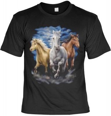Top Qualität! HK_MTS_01_7638-P16 mit dem Motiv: <br><b>Tier T-Shirt Three Horses Fb schwarz</b>,fällt sofort ins Auge und sorgt für einen gelungenen Auftritt.<br><br>T-shirt namenhafter Hersteller in bester Qualität, wie <b>Stedman</b> oder <b>Fruit of th