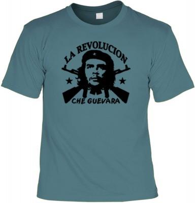 Top Qualität! HK_UCA_21_12404-P11 mit dem Motiv: <br /><b> Revolution T-Shirt Che Guevara - La Revolucion in stahlblau </b>,fällt sofort ins Auge und sorgt für einen gelungenen Auftritt.<br /><br />T-shirt namenhafter Hersteller in bester Qualität, wie <b