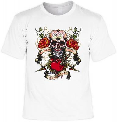 La amor mata lentamente mit der Artikel-Nr.: HK_Mot_02_13134-P16<b>Biker - Motiv T-Shirt</b><br><br><br><b><u>Angaben zum Produkt vom Hersteller:</u><br><br><b><i>Das Material ist 100% Baumwolle</b><b>Die Tshirts haben ein Schulter zu Schulter Nackenband