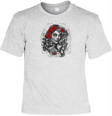 Dia de los muertos girl mit der Artikel-Nr.: HK_Mot_07_15744-P15<b>Biker - Motiv T-Shirt</b><br><br><br><b><u>Angaben zum Produkt vom Hersteller:</u><br><br><b><i>Das Material ist 100% Baumwolle</b><b>Die Tshirts haben ein Schulter zu Schulter Nackenband