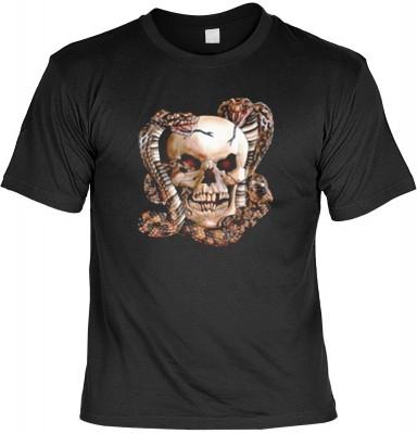 Top Qualität! HK_MTS_01_10848-P16 mit dem Motiv: <br><b>Cobras Schlange Totenkopf Tshirt Skull with Snakes Fb schwarz</b>,fällt sofort ins Auge und sorgt für einen gelungenen Auftritt.<br><br>T-shirt namenhafter Hersteller in bester Qualität, wie <b>Stedm