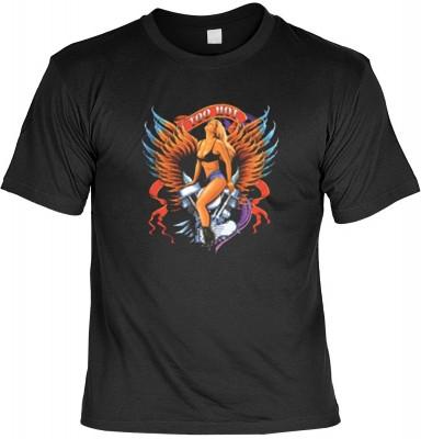 Top Qualität! HK_USA_01_5547-P18 mit dem Motiv: <br><b>Motorradfahrer T-Shirt Too Hot Fb schwarz auch in 3xL 4xL 5xL</b>,fällt sofort ins Auge und sorgt für einen gelungenen Auftritt.<br><br>T-shirt namenhafter Hersteller in bester Qualität, wie <b>Stedma