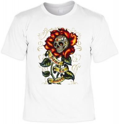 Dame tu amor mit der Artikel-Nr.: HK_Mot_02_13198-P14<b>Biker - Motiv T-Shirt</b><br><br><br><b><u>Angaben zum Produkt vom Hersteller:</u><br><br><b><i>Das Material ist 100% Baumwolle</b><b>Die Tshirts haben ein Schulter zu Schulter Nackenband für bessere