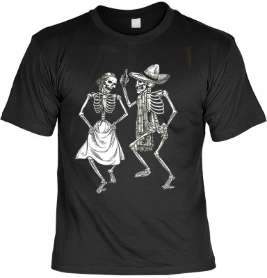 Dancing skeletons mit der Artikel-Nr.: HK_Mot_01_12673-P11<b>Biker - Motiv T-Shirt</b><br><br><br><b><u>Angaben zum Produkt vom Hersteller:</u><br><br><b><i>Das Material ist 100% Baumwolle</b><b>Die Tshirts haben ein Schulter zu Schulter Nackenband für be