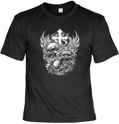 Top Qualität! HK_USA_01_12664-P11 mit dem Motiv: <br><b>Motorradfahrer T-Shirt God is my Judge Fb schwarz auch in 3xL 4xL 5xL</b>,fällt sofort ins Auge und sorgt für einen gelungenen Auftritt.<br><br>T-shirt namenhafter Hersteller in bester Qualität, wie