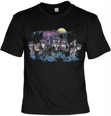 Wolfs Lustige Sprüche Tshirts Wölfe Wolfs in the Moonlight - US-Motiv