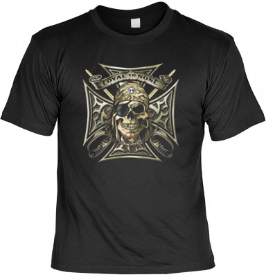 Top Qualität! HK_UCA_01_12025-P16 mit dem Motiv: <br><b>Freibeuter T-Shirt Loyal to None in schwarz</b>,fällt sofort ins Auge und sorgt für einen gelungenen Auftritt.<br><br>T-shirt namenhafter Hersteller in bester Qualität, wie <b>Stedman</b> oder <b>Fru