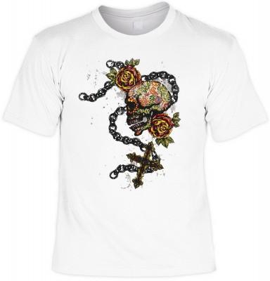 Fiesta skull cross mit der Artikel-Nr.: HK_Mot_02_13239-P16<b>Biker - Motiv T-Shirt</b><br><br><br><b><u>Angaben zum Produkt vom Hersteller:</u><br><br><b><i>Das Material ist 100% Baumwolle</b><b>Die Tshirts haben ein Schulter zu Schulter Nackenband für b