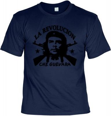 Top Qualität! HK_UCA_05_12404-P11 mit dem Motiv: <br><b>Revolution T-Shirt Che Guevara - La Revolucion in navy blau</b>,fällt sofort ins Auge und sorgt für einen gelungenen Auftritt.<br><br>T-shirt namenhafter Hersteller in bester Qualität, wie <b>Stedman