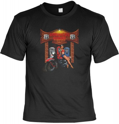 Top Qualität! HK_USA_01_13149-P16 mit dem Motiv: <br><b>Motorradfahrer T-Shirt Americas Hiway Fb schwarz auch in 3xL 4xL 5xL</b>,fällt sofort ins Auge und sorgt für einen gelungenen Auftritt.<br><br>T-shirt namenhafter Hersteller in bester Qualität, wie <