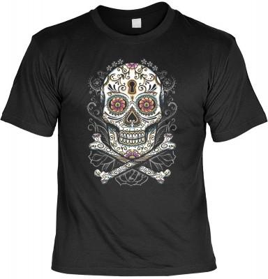 Floral skull mit der Artikel-Nr.: HK_Mot_01_18007D2<b>Biker - Motiv T-Shirt</b><br><br><br><b><u>Angaben zum Produkt vom Hersteller:</u><br><br><b><i>Das Material ist 100% Baumwolle</b><b>Die Tshirts haben ein Schulter zu Schulter Nackenband für besseren