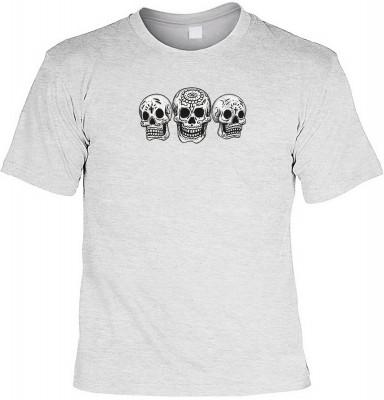 3 Skulls - Day of the dead mit der Artikel-Nr.: HK_Mot_07_12669-P10<b>Biker - Motiv T-Shirt</b><br><br><br><b><u>Angaben zum Produkt vom Hersteller:</u><br><br><b><i>Das Material ist 100% Baumwolle</b><b>Die Tshirts haben ein Schulter zu Schulter Nackenba
