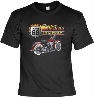 Motorcycle americas highway mit der Artikel-Nr.: HK_Mot_01_7439-P16<b>Biker - Motiv T-Shirt</b><br><br><br><b><u>Angaben zum Produkt vom Hersteller:</u><br><br><b><i>Das Material ist 100% Baumwolle</b><b>Die Tshirts haben ein Schulter zu Schulter Nackenba