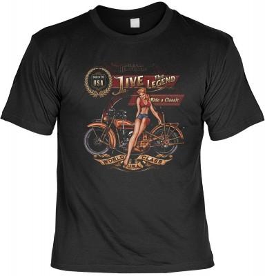 Live the legend mit der Artikel-Nr.: HK_Mot_01_15194-P16<b>Biker - Motiv T-Shirt</b><br><br><br><b><u>Angaben zum Produkt vom Hersteller:</u><br><br><b><i>Das Material ist 100% Baumwolle</b><b>Die Tshirts haben ein Schulter zu Schulter Nackenband für bess