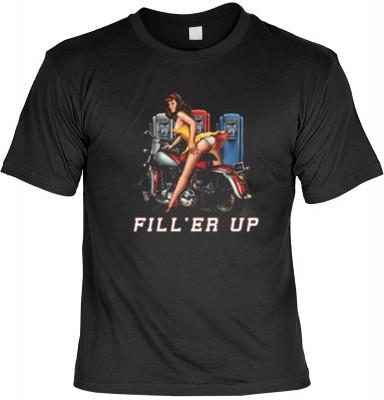 Top Qualität! HK_MTS_01_12644-P16 mit dem Motiv: <br><b>Pin Up Girl mit Bike Tshirt Fill&#39er Up Fb schwarz</b>,fällt sofort ins Auge und sorgt für einen gelungenen Auftritt.<br><br>T-shirt namenhafter Hersteller in bester Qualität, wie <b>Stedman</b> od