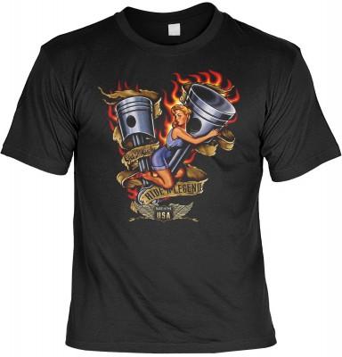 Ride a legend mit der Artikel-Nr.: HK_Mot_01_14022-P16<b>Biker - Motiv T-Shirt</b><br><br><br><b><u>Angaben zum Produkt vom Hersteller:</u><br><br><b><i>Das Material ist 100% Baumwolle</b><b>Die Tshirts haben ein Schulter zu Schulter Nackenband für besser