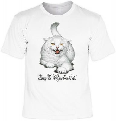Annoy me at your own risk Cat<b> - Motiv T-Shirt</b><br /><br /><b>Angaben zum Produkt vom Hersteller:<br /><br /><b>Das Material ist 100% Baumwolle. </b><b>Die Tshirts haben ein Schulter zu Schulter Nackenband für besseren Tragekomfort. </b><b>Die Shirts
