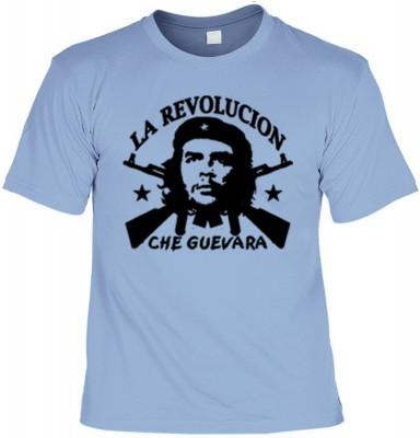 Top Qualität! HK_UCA_15_12404-P11 mit dem Motiv: <br><b>Revolution T-Shirt Che Guevara - La Revolucion in skyblau</b>,fällt sofort ins Auge und sorgt für einen gelungenen Auftritt.<br><br>T-shirt namenhafter Hersteller in bester Qualität, wie <b>Stedman</