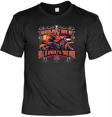 Lustige witzige bedruckte Sprüche Fun Shirts!<br /><br /> Motiv: Heaven won´t have me - Hell is afraid i´ll take over!<br /><br /> Für unsere Fun Tshirts verwenden wir nur hochwertige Marken T-Shirts namhafter Hersteller aus 100% Baumwolle.<br /> Hier noc