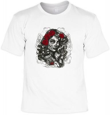 Dia de los muertos girl mit der Artikel-Nr.: HK_Mot_02_15744-P15<b>Biker - Motiv T-Shirt</b><br><br><br><b><u>Angaben zum Produkt vom Hersteller:</u><br><br><b><i>Das Material ist 100% Baumwolle</b><b>Die Tshirts haben ein Schulter zu Schulter Nackenband