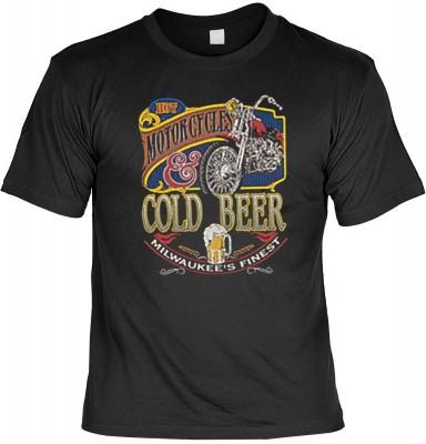 Top Qualität! HK_USA_01_4440-P16 mit dem Motiv: <br><b>Motorradfahrer T-Shirt Motorcycles & Cold Beer Fb schwarz auch in 3xL 4xL 5xL</b>,fällt sofort ins Auge und sorgt für einen gelungenen Auftritt.<br><br>T-shirt namenhafter Hersteller in bester Qualitä