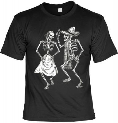 Dancing skeletons mit der Artikel-Nr.: HK_Mot_01_12672-P11<b>Biker - Motiv T-Shirt</b><br /><br /><br /><b>Angaben zum Produkt vom Hersteller:<br /><br /><b>Das Material ist 100% Baumwolle</b><b>Die Tshirts haben ein Schulter zu Schulter Nackenband für be