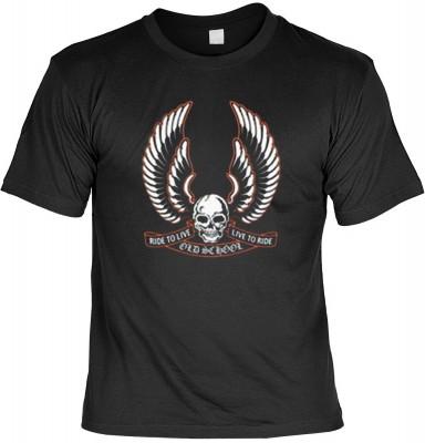Top Qualität! HK_MTS_01_11064-P13 mit dem Motiv: <br><b>Totenkopf mit Flügel Tshirt Ride to Live - Live to Ride Fb schwarz</b>,fällt sofort ins Auge und sorgt für einen gelungenen Auftritt.<br><br>T-shirt namenhafter Hersteller in bester Qualität, wie <b>
