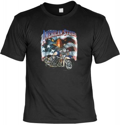 Top Qualität! HK_USA_01_6200-P16 mit dem Motiv: <br><b>Motorradfahrer T-Shirt American Steel Fb schwarz auch in 3xL 4xL 5xL</b>,fällt sofort ins Auge und sorgt für einen gelungenen Auftritt.<br><br>T-shirt namenhafter Hersteller in bester Qualität, wie <b