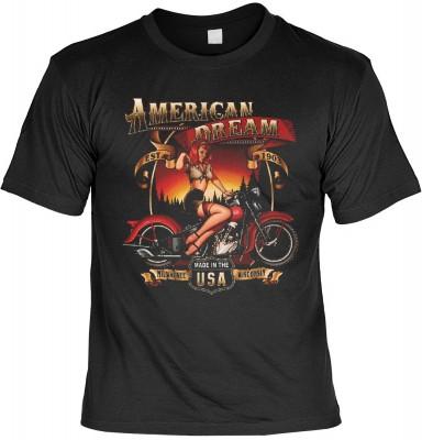 American dream babe mit der Artikel-Nr.: HK_Mot_01_14999-P16<b>Biker - Motiv T-Shirt</b><br><br><br><b><u>Angaben zum Produkt vom Hersteller:</u><br><br><b><i>Das Material ist 100% Baumwolle</b><b>Die Tshirts haben ein Schulter zu Schulter Nackenband für