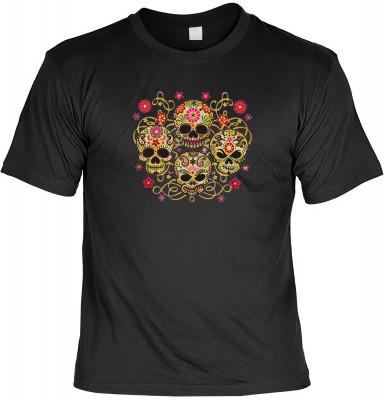 Four skulls mit der Artikel-Nr.: HK_Mot_01_13212-P14<b>Biker - Motiv T-Shirt</b><br><br><br><b><u>Angaben zum Produkt vom Hersteller:</u><br><br><b><i>Das Material ist 100% Baumwolle</b><b>Die Tshirts haben ein Schulter zu Schulter Nackenband für besseren