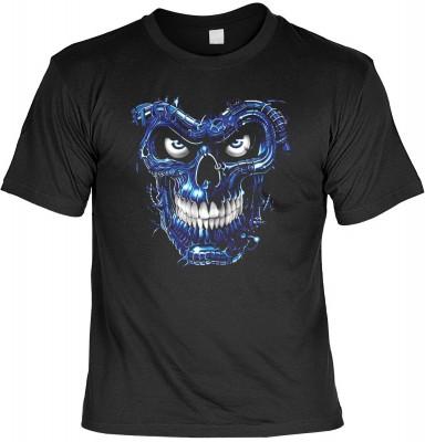 Terminator skull blue mit der Artikel-Nr.: HK_Mot_01_10265D1<b>Biker - Motiv T-Shirt</b><br><br><br><b><u>Angaben zum Produkt vom Hersteller:</u><br><br><b><i>Das Material ist 100% Baumwolle</b><b>Die Tshirts haben ein Schulter zu Schulter Nackenband für