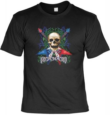 Top Qualität! HK_MTS_01_10176-P16 mit dem Motiv: <br><b>Totenkopf T-shirt Rock On Fb schwarz</b>,fällt sofort ins Auge und sorgt für einen gelungenen Auftritt.<br><br>T-shirt namenhafter Hersteller in bester Qualität, wie <b>Stedman</b> oder <b>Fruit of t