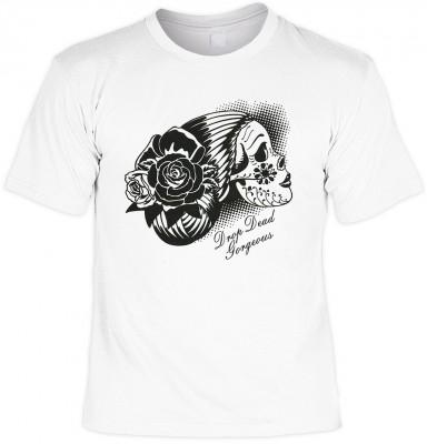 Day of dead skull mit der Artikel-Nr.: HK_Mot_02_12670-P10<b>Biker - Motiv T-Shirt</b><br /><br /><br /><span style=text-decoration: underline >Angaben zum Produkt vom Hersteller:</span><br /><br /><b><b><i>Das Material ist 100% Baumwolle</i></b><b>Die Ts