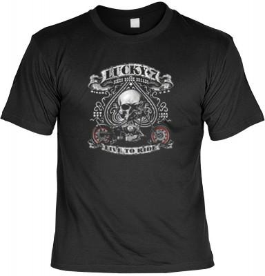 Top Qualität! HK_MTS_01_13613-P14 mit dem Motiv: <br><b>Motorrad Biker T-shirt: Lucky 7 - Live to ride Fb schwarz</b>,fällt sofort ins Auge und sorgt für einen gelungenen Auftritt.<br><br>T-shirt namenhafter Hersteller in bester Qualität, wie <b>Stedman</