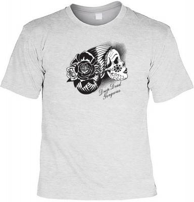 Day of dead skull mit der Artikel-Nr.: HK_Mot_07_12670-P10<b>Biker - Motiv T-Shirt</b><br><br><br><b><u>Angaben zum Produkt vom Hersteller:</u><br><br><b><i>Das Material ist 100% Baumwolle</b><b>Die Tshirts haben ein Schulter zu Schulter Nackenband für be