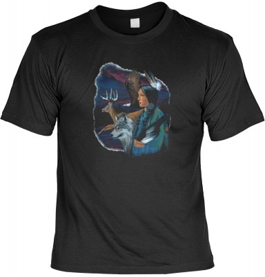 Top Qualität! <b> Mythologie der Ureinwohner Nordamerikas T-Shirt Indianerin mit Wolf und Hirsch in schwarz </b>,fällt sofort ins Auge und sorgt für einen gelungenen Auftritt.<br /><br />T-shirt namenhafter Hersteller in bester Qualität. <b><b>Angenehme u