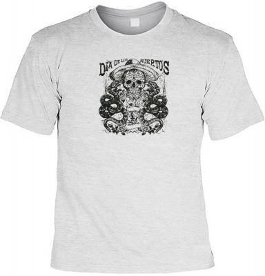 Dia de los muertos mit der Artikel-Nr.: HK_Mot_07_12729-P10<b>Biker - Motiv T-Shirt</b><br><br><br><b><u>Angaben zum Produkt vom Hersteller:</u><br><br><b><i>Das Material ist 100% Baumwolle</b><b>Die Tshirts haben ein Schulter zu Schulter Nackenband für b
