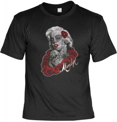 Marylin de los muertos mit der Artikel-Nr.: HK_Mot_01_15729-P15<b>Biker - Motiv T-Shirt</b><br><br><br><b><u>Angaben zum Produkt vom Hersteller:</u><br><br><b><i>Das Material ist 100% Baumwolle</b><b>Die Tshirts haben ein Schulter zu Schulter Nackenband f