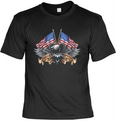Top Qualität! HK_MTS_01_11648-P16 mit dem Motiv: <br><b>Adler mit US Fahnen Motorrad Tshirt Eagle with US-Flaggs Fb schwarz</b>,fällt sofort ins Auge und sorgt für einen gelungenen Auftritt.<br><br>T-shirt namenhafter Hersteller in bester Qualität, wie <b