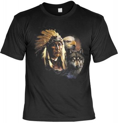 Top Qualität! HK_UCA_01_00485D2 mit dem Motiv: <br /><b> Mythologie der Ureinwohner Nordamerikas T-Shirt Indianer mit Wolf und Adler in schwarz </b>,fällt sofort ins Auge und sorgt für einen gelungenen Auftritt.<br /><br />T-shirt namenhafter Hersteller i