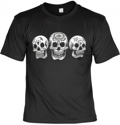 3 Skulls - Day of the dead mit der Artikel-Nr.: HK_Mot_01_12669-P10<b>Biker - Motiv T-Shirt</b><br><br><br><b><u>Angaben zum Produkt vom Hersteller:</u><br><br><b><i>Das Material ist 100% Baumwolle</b><b>Die Tshirts haben ein Schulter zu Schulter Nackenba