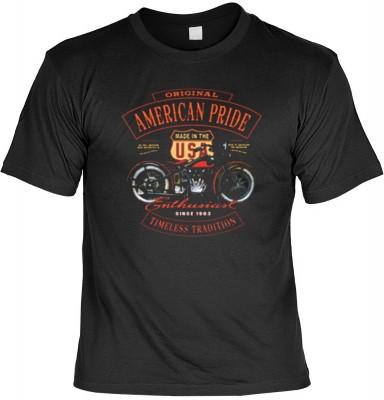Top Qualität! HK_USA_01_13687-P16 mit dem Motiv: <br><b>Motorradfahrer T-Shirt American Pride - Enthusiast Fb schwarz auch in 3xL 4xL 5xL</b>,fällt sofort ins Auge und sorgt für einen gelungenen Auftritt.<br><br>T-shirt namenhafter Hersteller in bester Qu