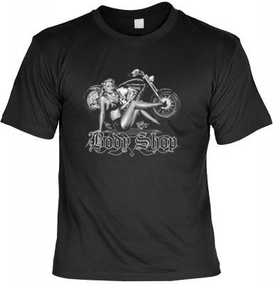 Top Qualität! HK_MTS_01_12390-P13 mit dem Motiv: <br><b>Pin up Girl Biker Motorrad Cruiser T-shirt: Body Shop Fb schwarz</b>,fällt sofort ins Auge und sorgt für einen gelungenen Auftritt.<br><br>T-shirt namenhafter Hersteller in bester Qualität, wie <b>St