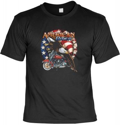 Top Qualität! HK_USA_01_6202-P18 mit dem Motiv: <br><b>Motorradfahrer T-Shirt American Biker Fb schwarz auch in 3xL 4xL 5xL</b>,fällt sofort ins Auge und sorgt für einen gelungenen Auftritt.<br><br>T-shirt namenhafter Hersteller in bester Qualität, wie <b