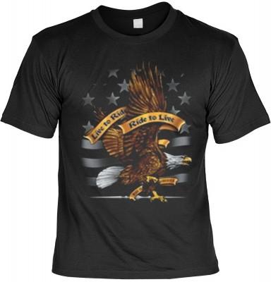 Top Qualität! HK_MTS_01_11644-P16 mit dem Motiv: <br><b>Motorrad Adler Eagle Tshirt Live to ride - Ride to live Fb schwarz</b>,fällt sofort ins Auge und sorgt für einen gelungenen Auftritt.<br><br>T-shirt namenhafter Hersteller in bester Qualität, wie <b>
